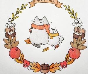 cat, doodle, and pumpkin image
