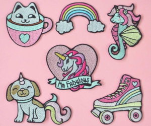 brand, patches, and unicorn image