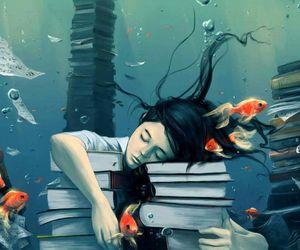 book, fish, and art image