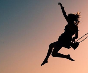 girl, swing, and freedom image