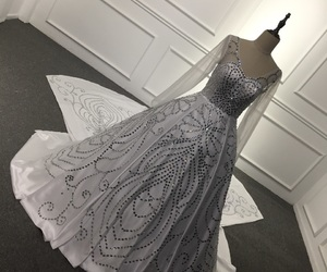 ball gown, bridal gown, and crystals image