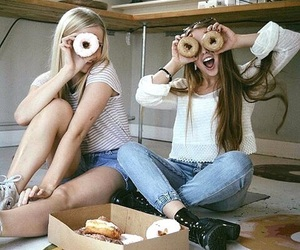 best friends, donuts, and fun image