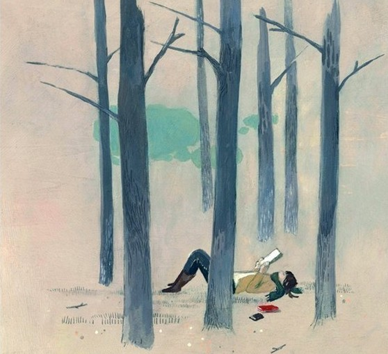 book, forest, and reading image