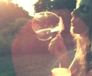 bubbles, girl, and sun image