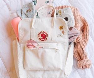 backpack, polaroid, and white image