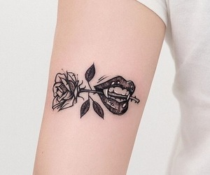 tattoo, rose, and girl image