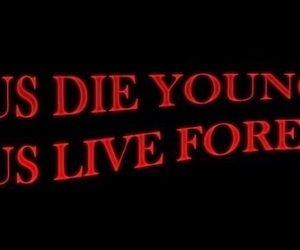 Lyrics, quote, and red and black image
