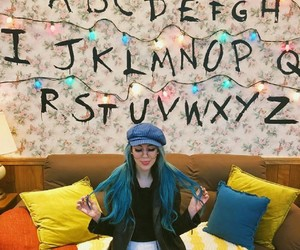 blue hair, hat, and stranger things image