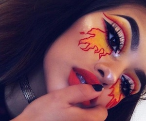 makeup, Halloween, and fire image