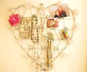 heart, pink rose, and keepsakes image