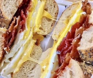 bacon, bagel, and breakfast image