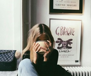 girl, coffee, and blonde image