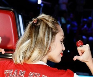 miley cyrus, red, and the voice image