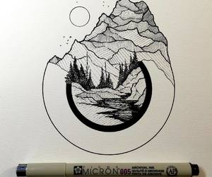 art, mountain, and drawings image