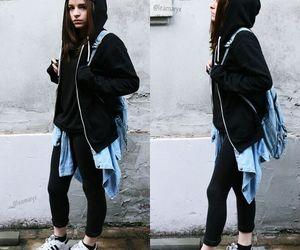 black sweatshirt, brunette, and cool girl image