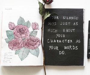 book, quotes, and flowers image