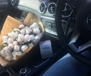 benz, bouquet, and cars image