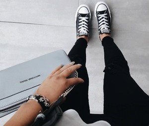 all stars, black and white, and converse image