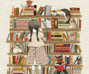 cat, book, and boy image