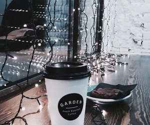 lights, coffee, and winter image