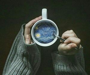 art, coffee, and van gogh image