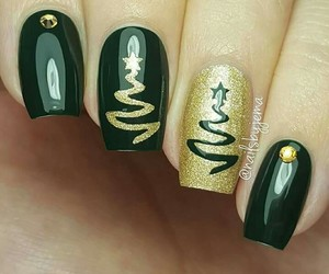 christmas, nails, and gold and black image