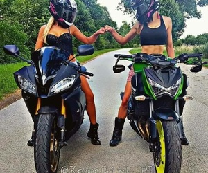 bike, girl, and friends image