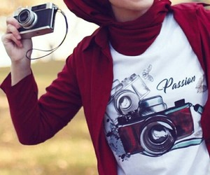 camera, hijab, and red image