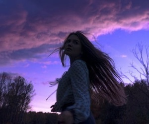 girl, purple, and sky image