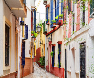 colours, street, and sevilla image