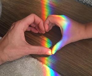 love, couple, and rainbow image