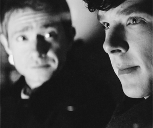 sherlock, johnlock, and Martin Freeman image