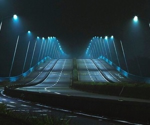 light, blue, and road image