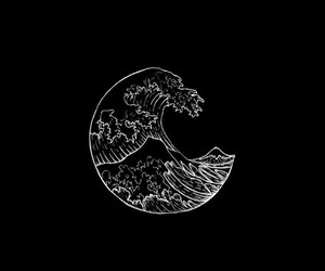 wallpaper, black, and waves image