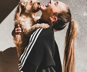 girl, dog, and fashion image