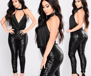 black, glitter, and fashion nova image