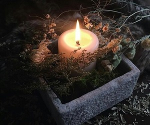 witch, candle, and nature image