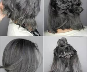 hair, grey, and short image