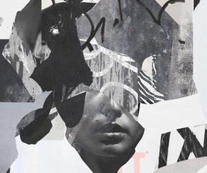 art, b&w, and Collage image