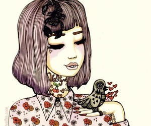 girl, valfre, and bird image