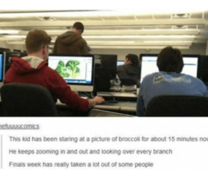 funny, finals, and broccoli image