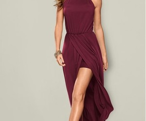 burgundy, dress, and gold image