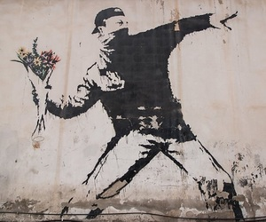 BANKSY, flowers, and graffiti image