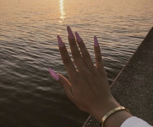 evening, long nails, and outdoors image