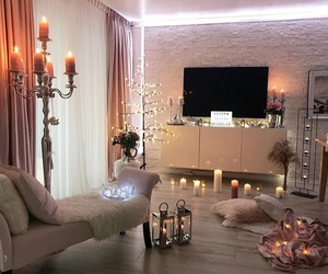 candles, living room, and rooms image