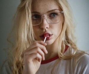 girl, blonde, and glasses image