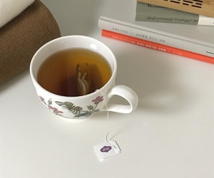 book, aesthetic, and tea image