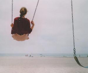 girl, swing, and beach image