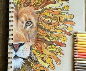 art, lion, and pencil image