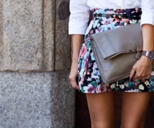 bag, clothes, and floral image